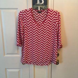 Tops - Pink/white chevron blouse